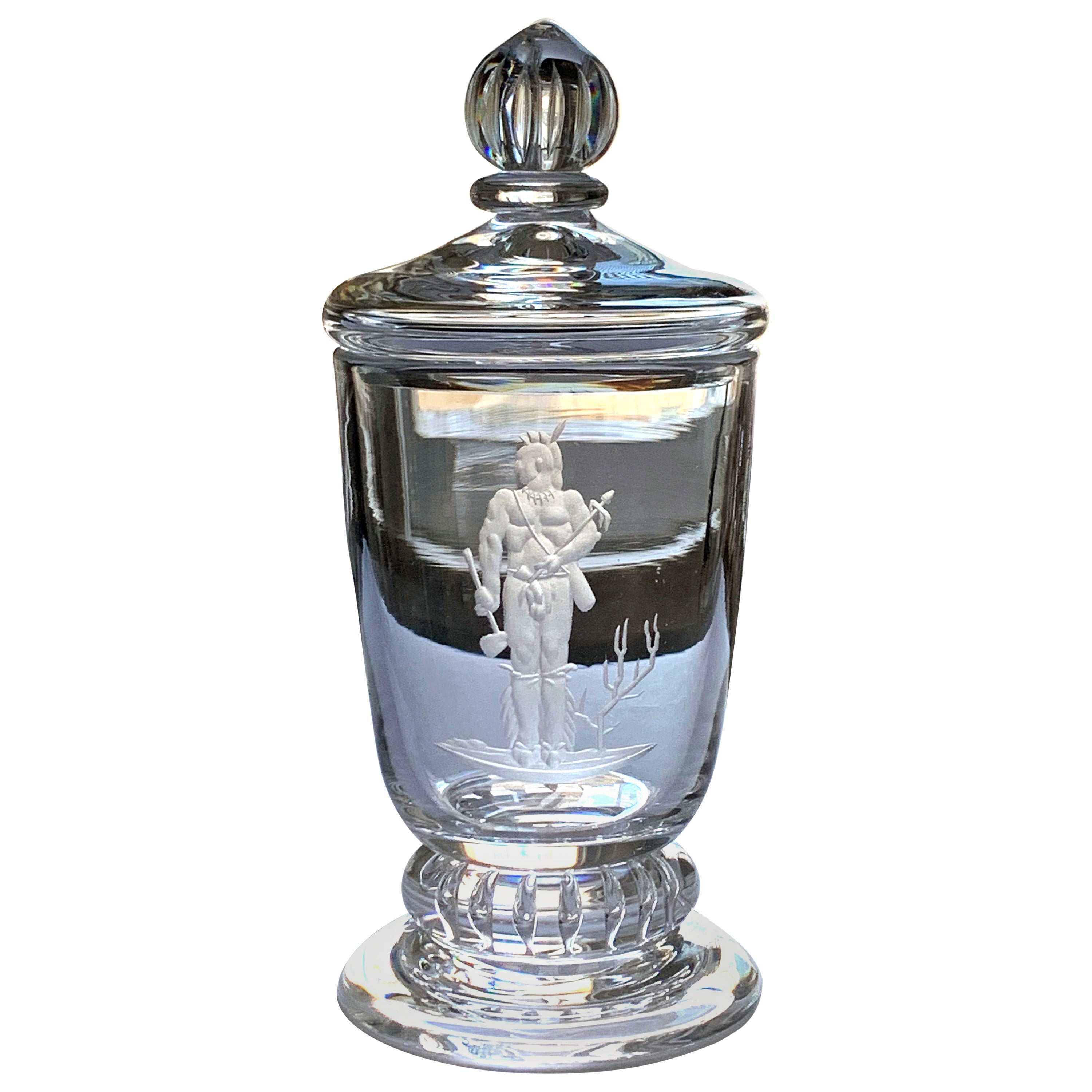 """""""Indian Brave,"""" Rare, Important Art Deco Covered Urn by Waugh for Steuben"""