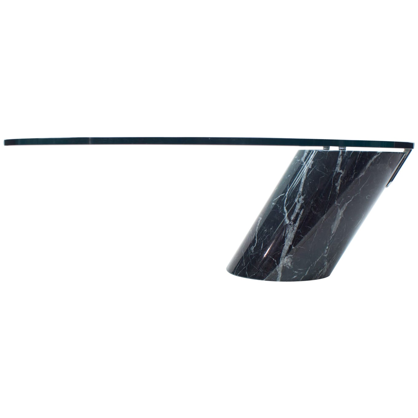 Black Marble and Glass Coffee Table Model K1000 by Team Form for Ronald Schmitt