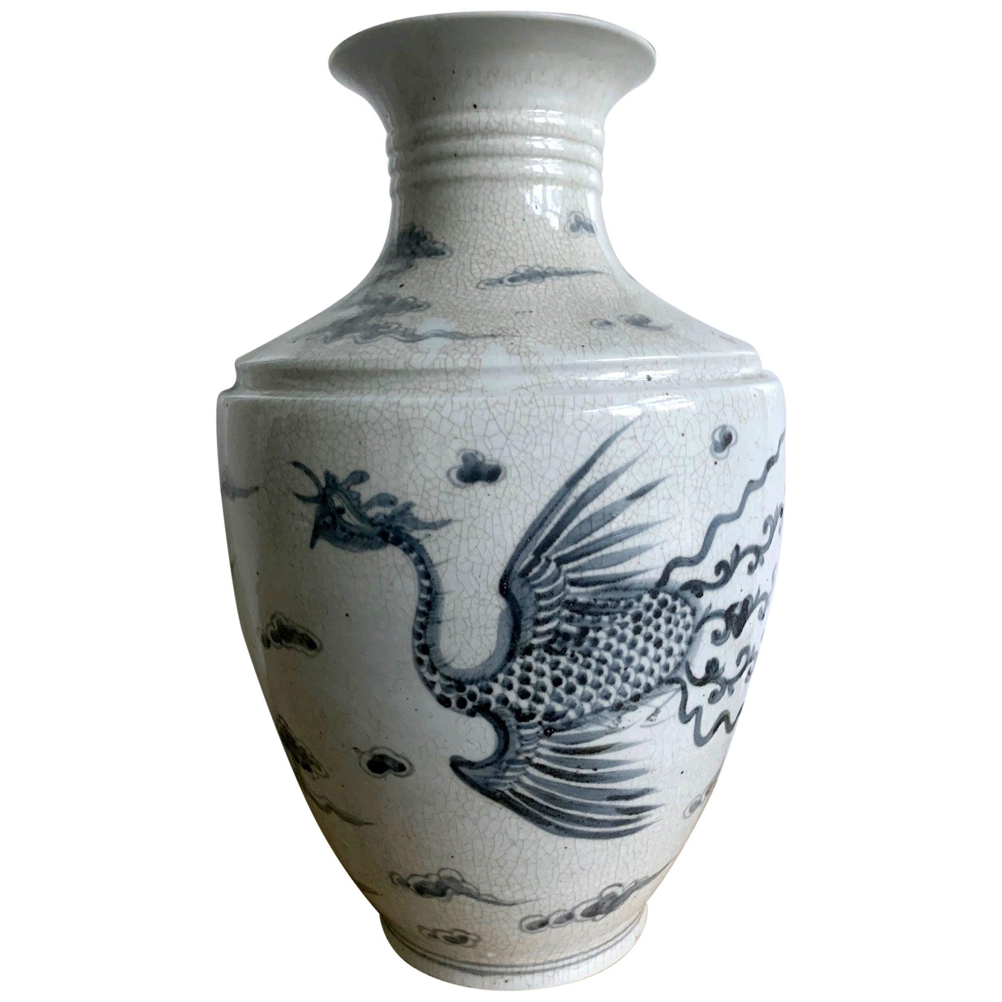 Large Korean Blue and White Vase with Phoenix Design