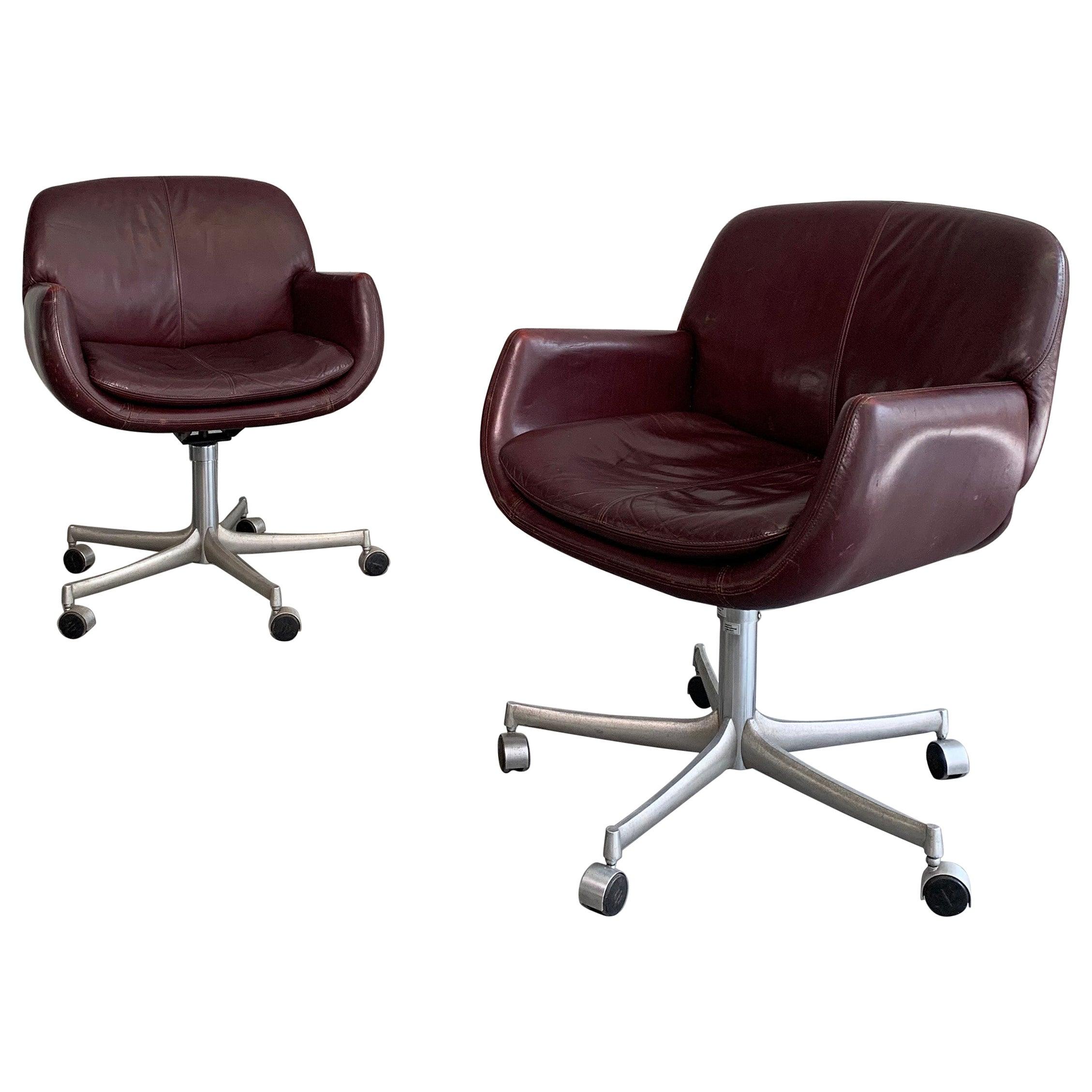Pair of Mid-Century Modern Leather Office Swivel Armchairs