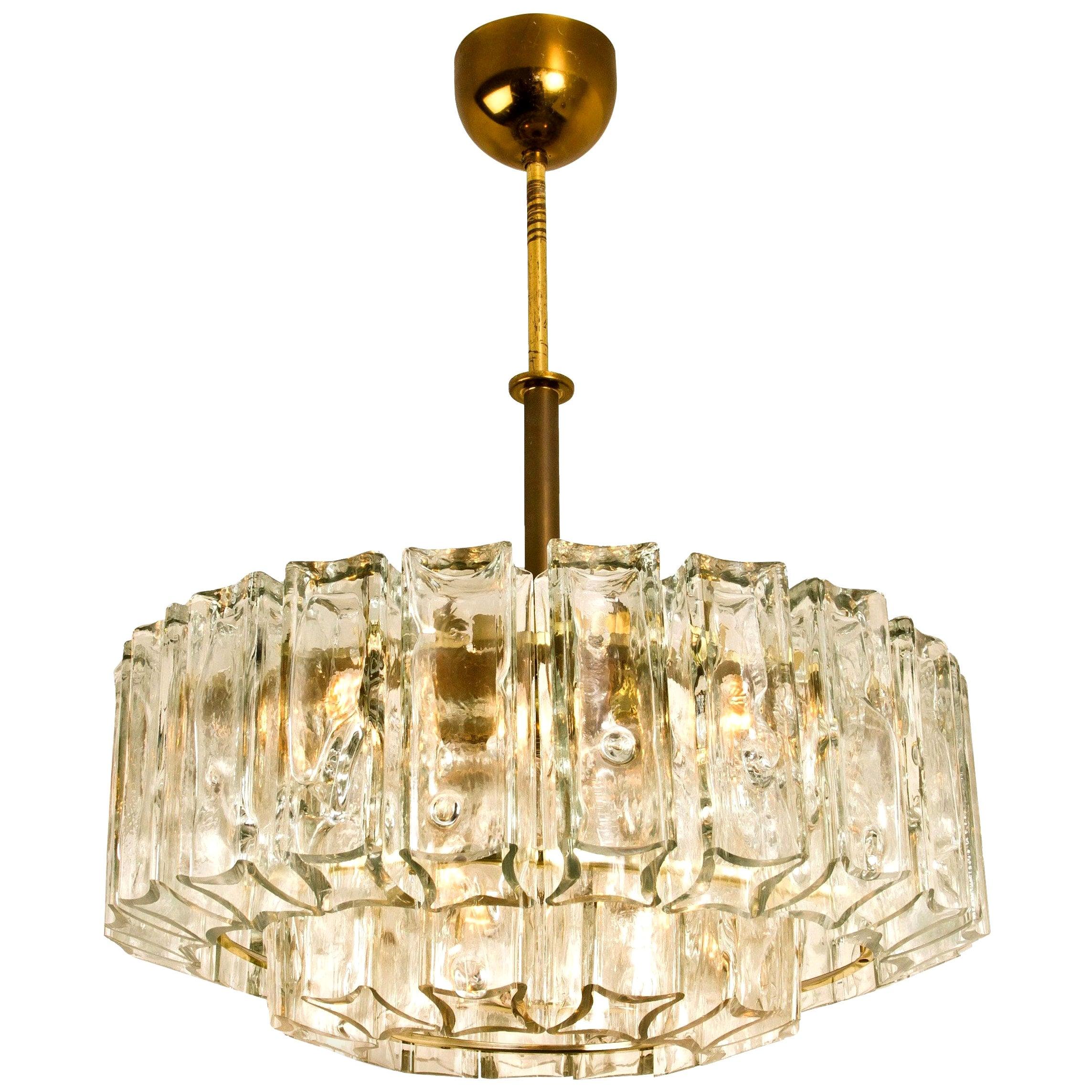 Chandelier Glass and Brass J.T. Kalmar, 1960