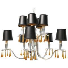Elegant Hollywood Regency Modern Feldman Chandelier with Murano Crystals 1960s