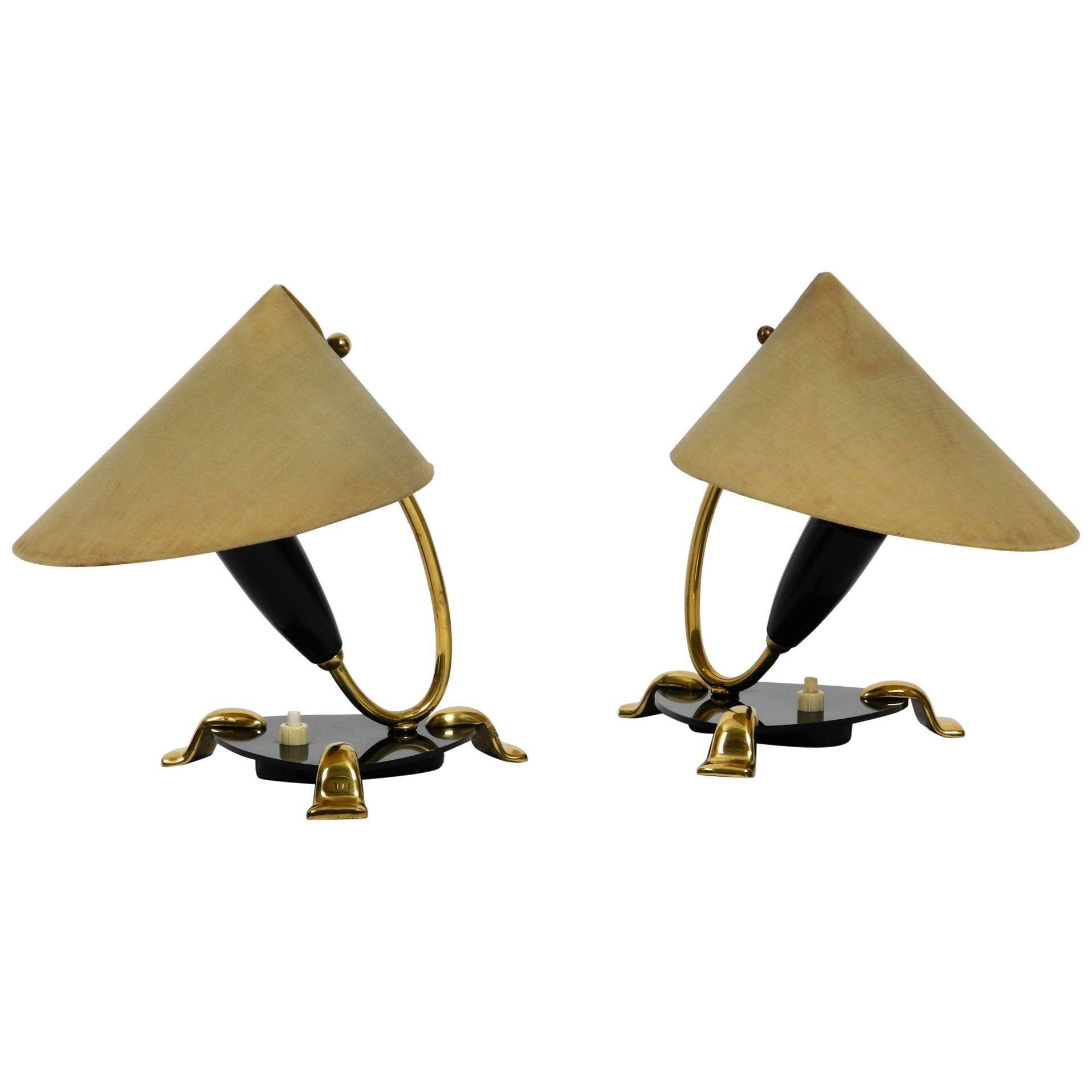 Pair of Midcentury Bedside Lamps Made of Brass and Plexiglass with Fabric Shades