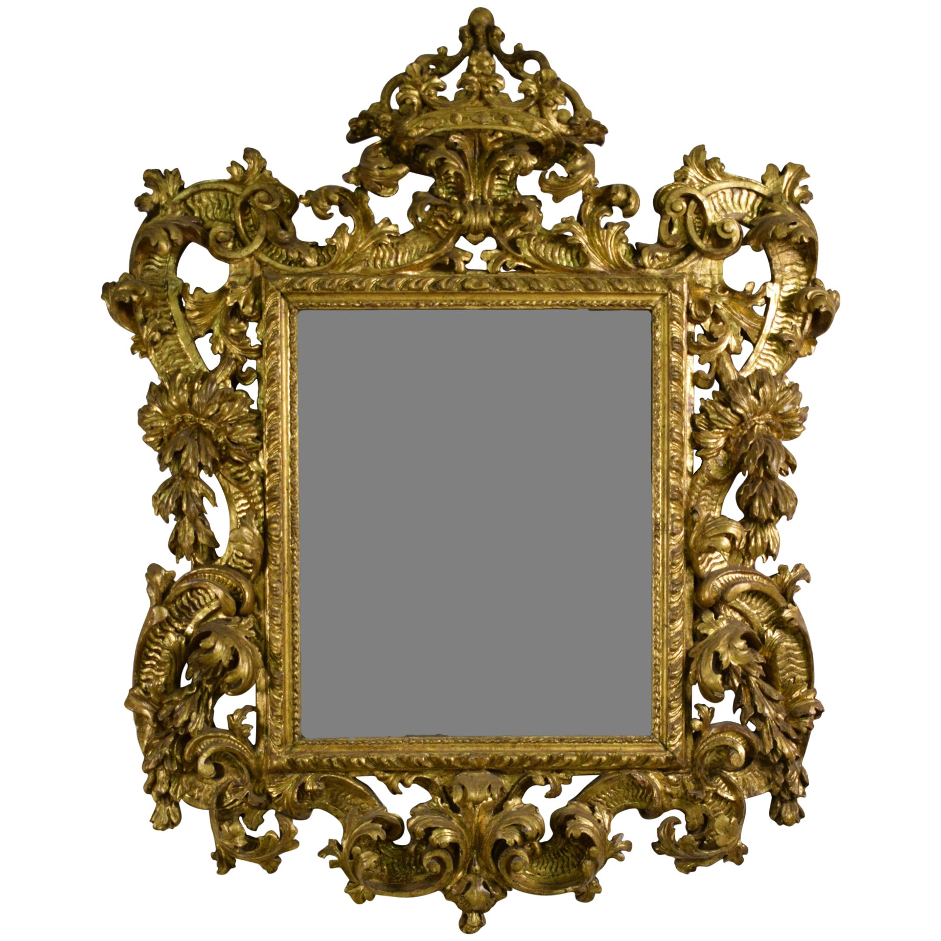 18th Century, Italian Baroque Giltwood Mirror