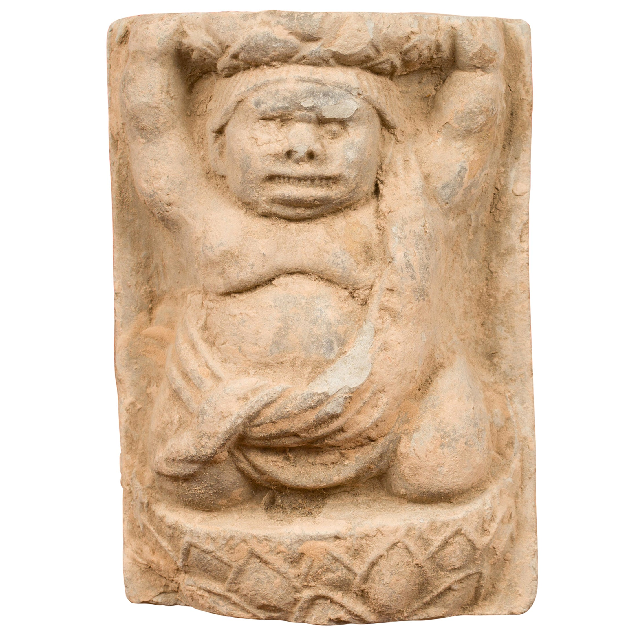 Chinese Tang Dynasty Carved Stone Wall Plaque Depicting a Male Figure
