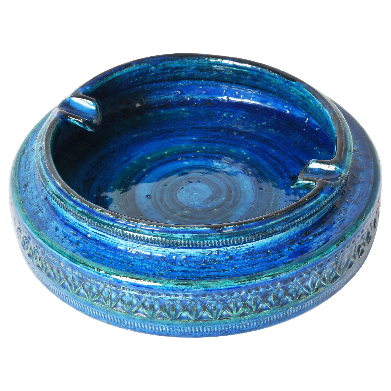 "Midcentury Aldo Londi Blue Glazed ""Rimini"" Ceramic Ashtray, Bitossi Italy, 1960s"