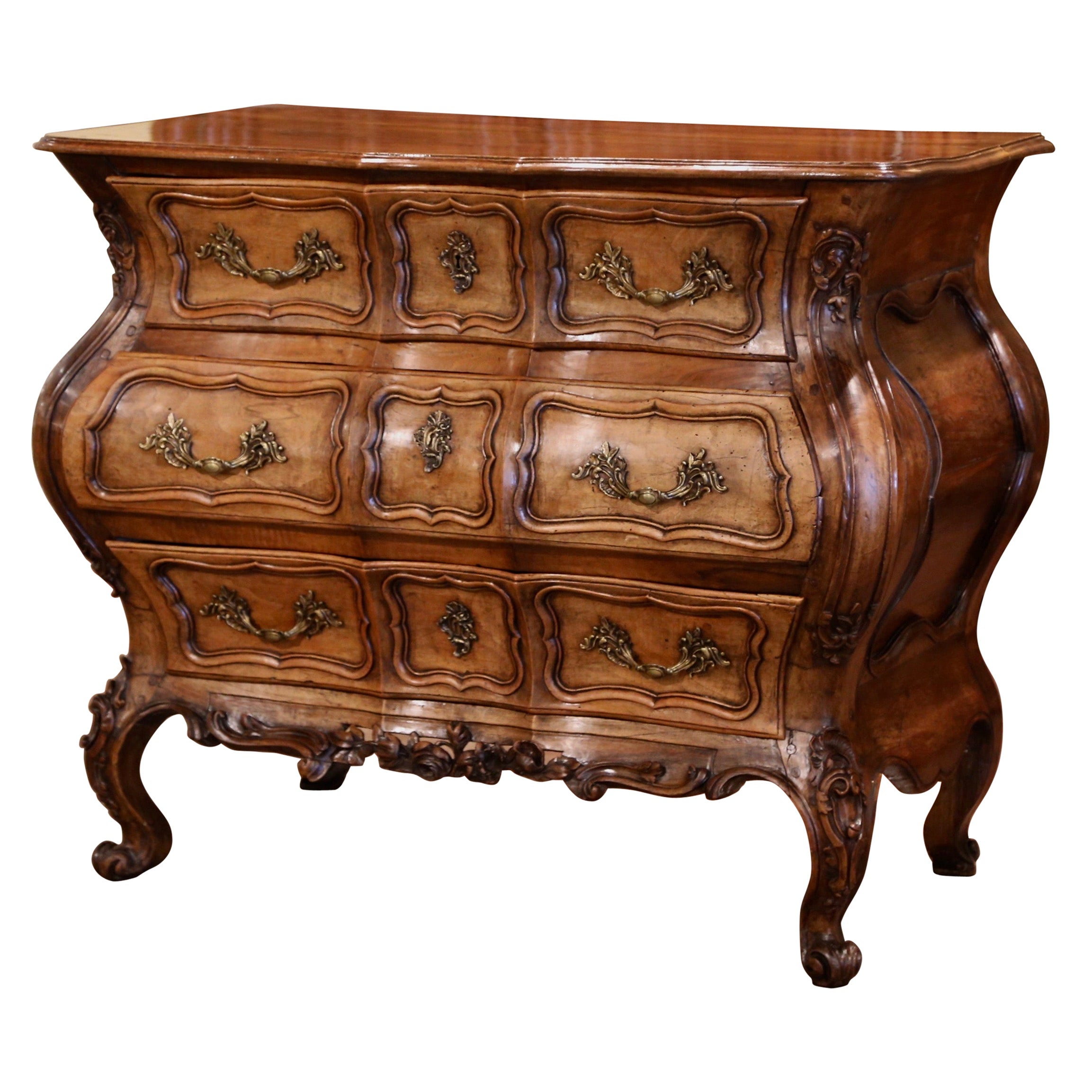 18th Century Louis XV Carved Walnut Serpentine Three-Drawer Commode Chest