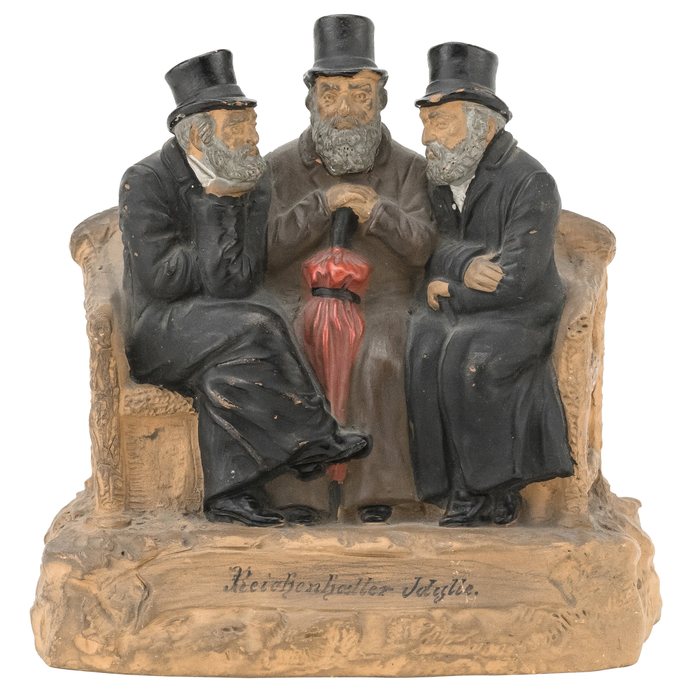 Late 19th Century Bohemian Terracotta Figure Group of Three Jews