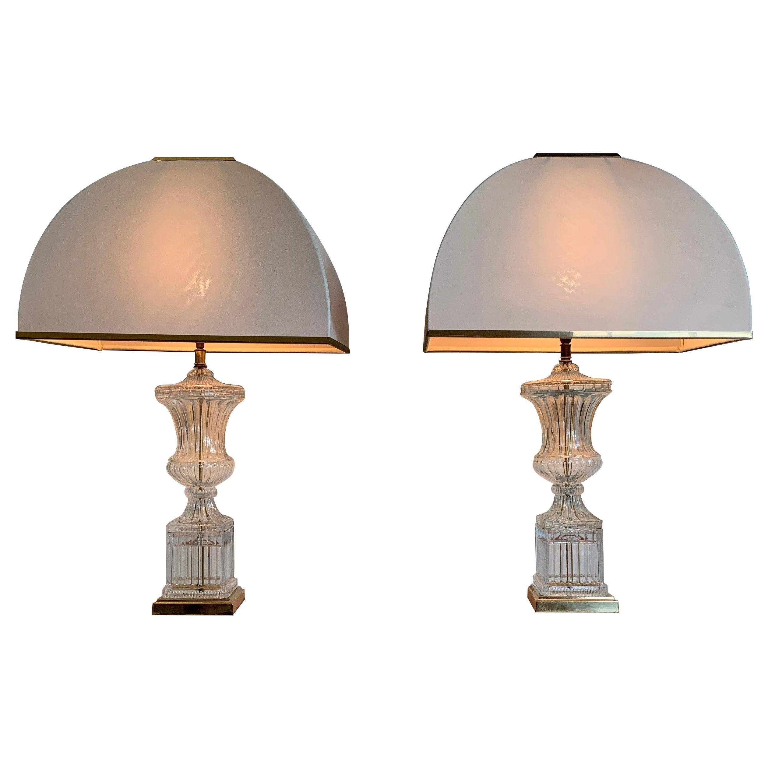 Pair of Midcentury Paul Hanson Attributed Glass Urn Lamps