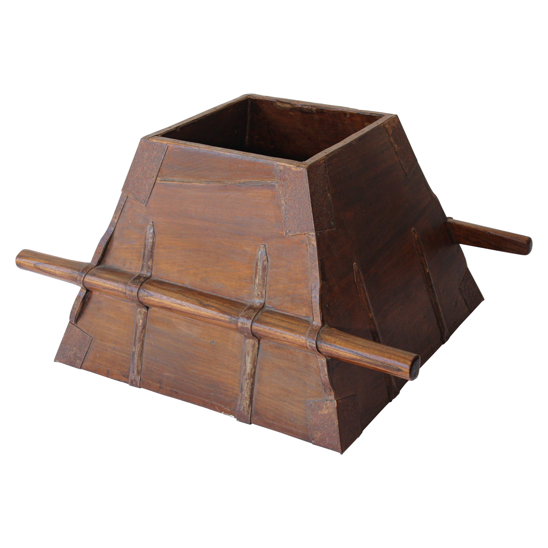 Antique Chinese Elmwood Basket Rice Measure
