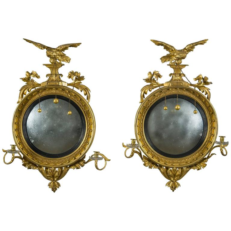 Pair of Girandole Mirrors with Eagles and Candlearms