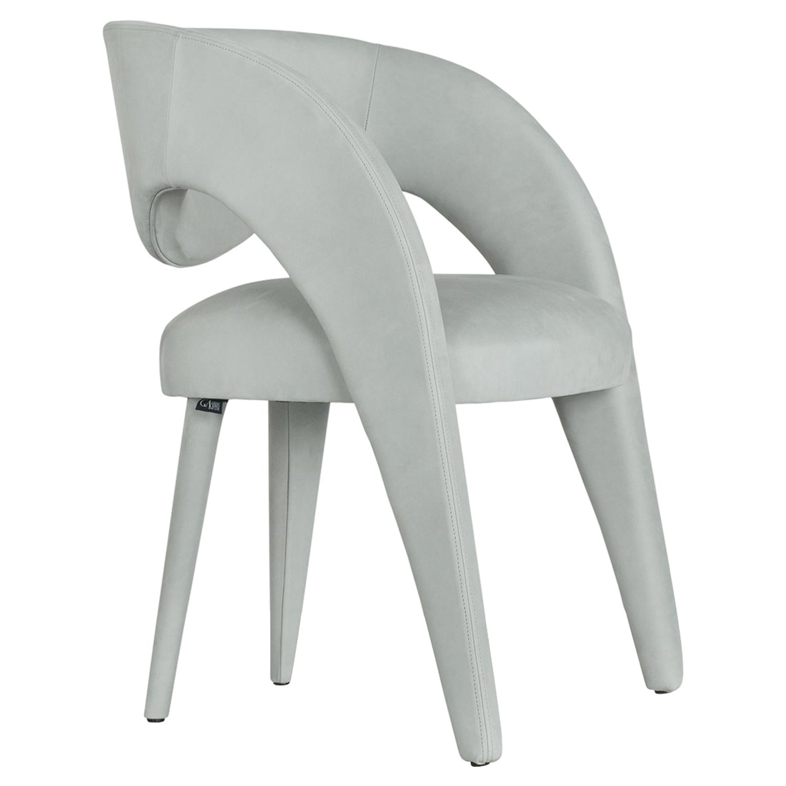 21st Century Modern Laurence Chair with Armrests Nubuck Handcrafted Greenapple