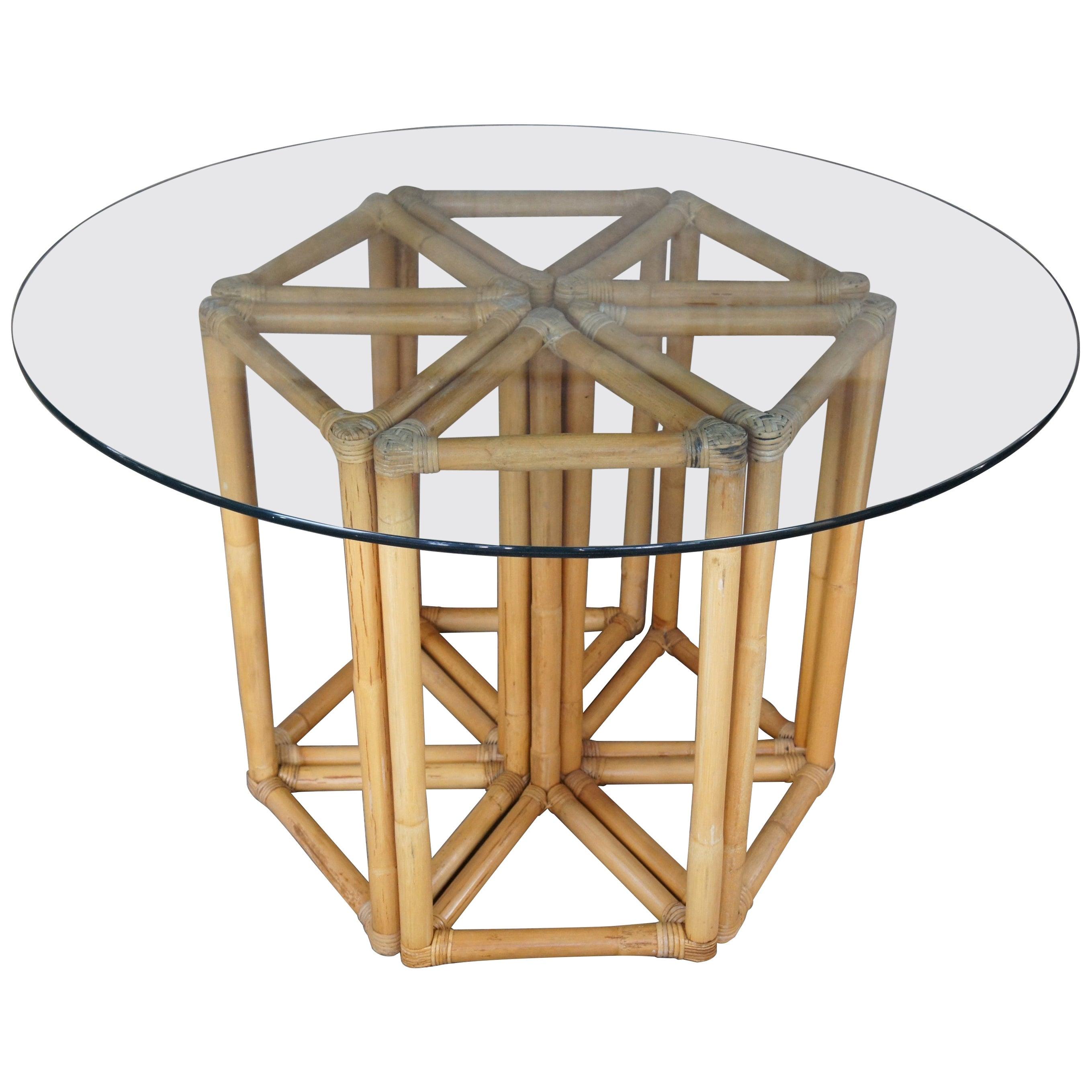 Vintage Bamboo & Rattan Triangular Hexagon Modular Base Table w Round Glass MCM