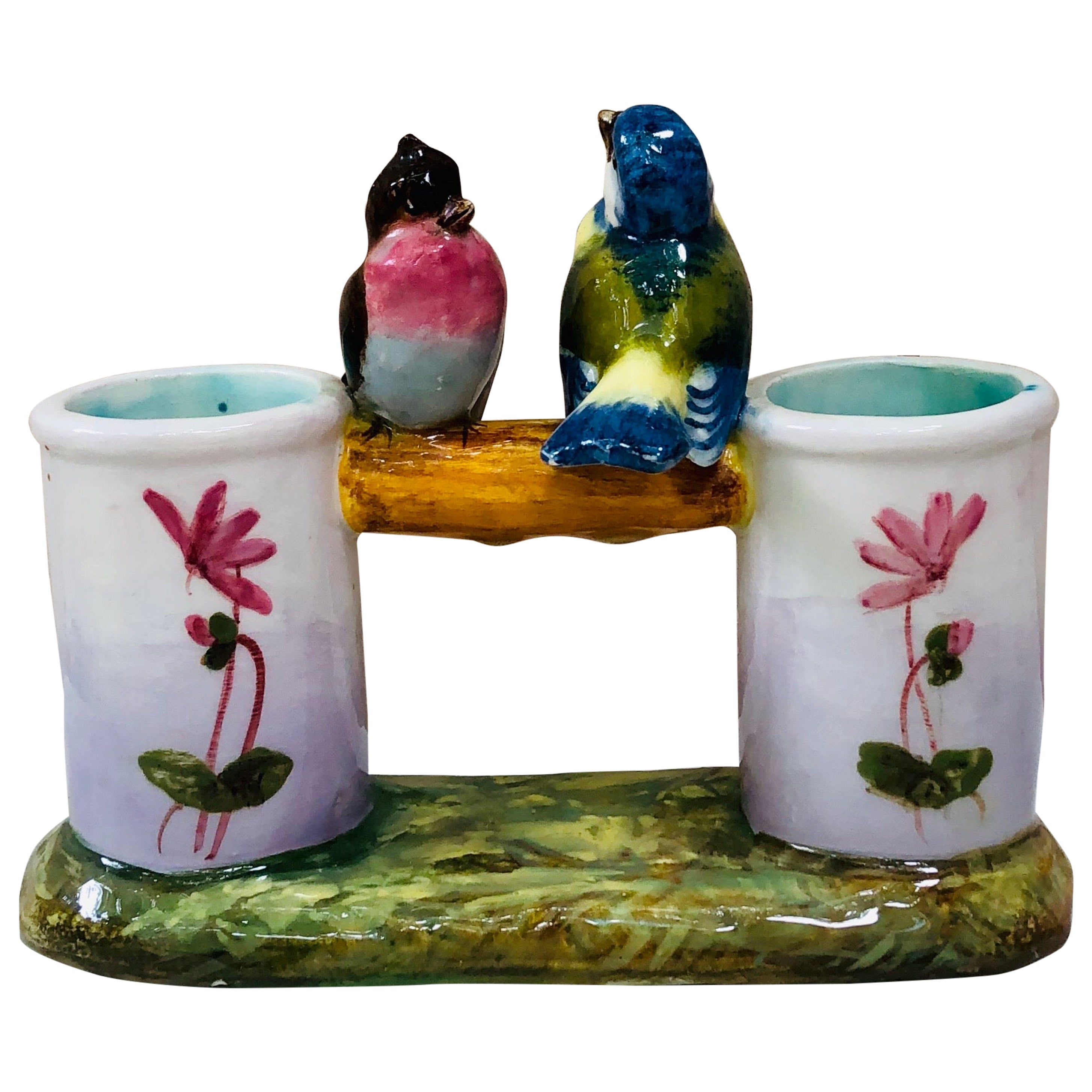 Majolica Double Vase with Birds Jerome Massier Fils, circa 1900