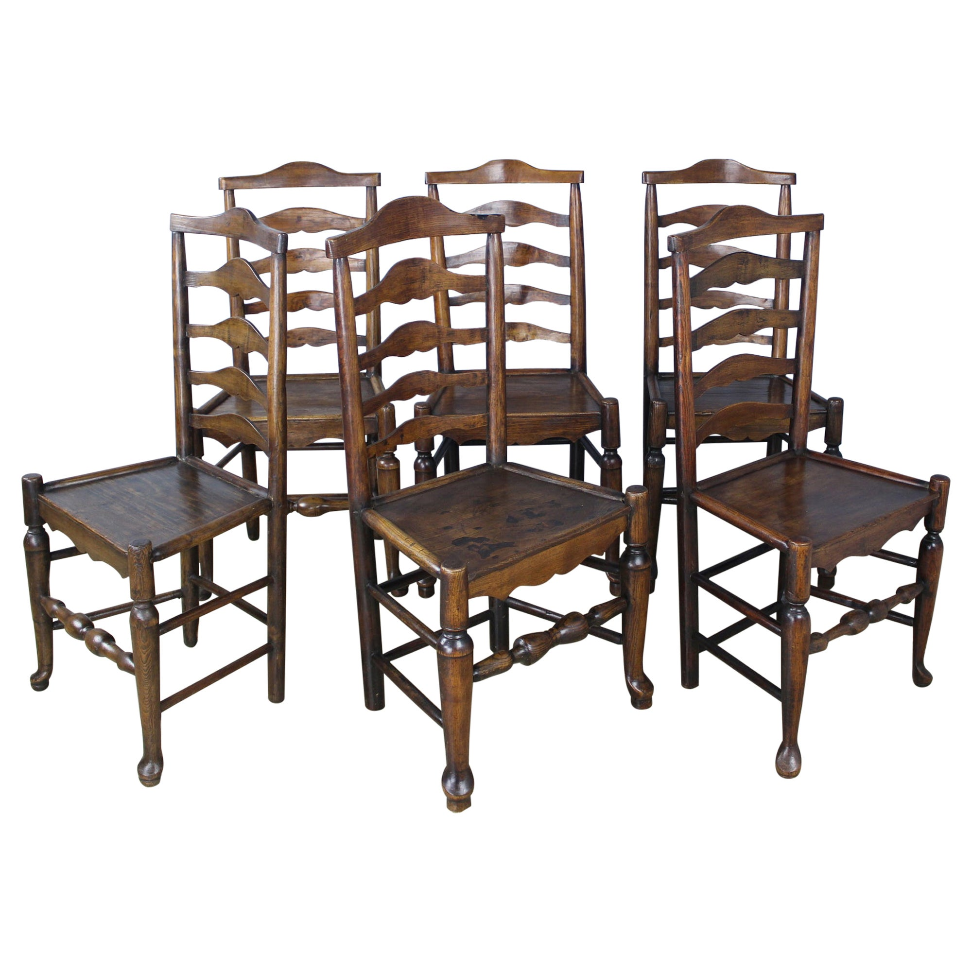 Set of 6 18th Century Oak and Ash Ladderback Dining Chairs