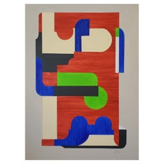 """""""Conundrum"""" Geometric Abstract Mixed-Media Painting, 2014, Red, Blue, Green"""