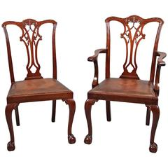 Set of 12, Late 19th to Early 20th Century Chippendale Style Dining Chairs