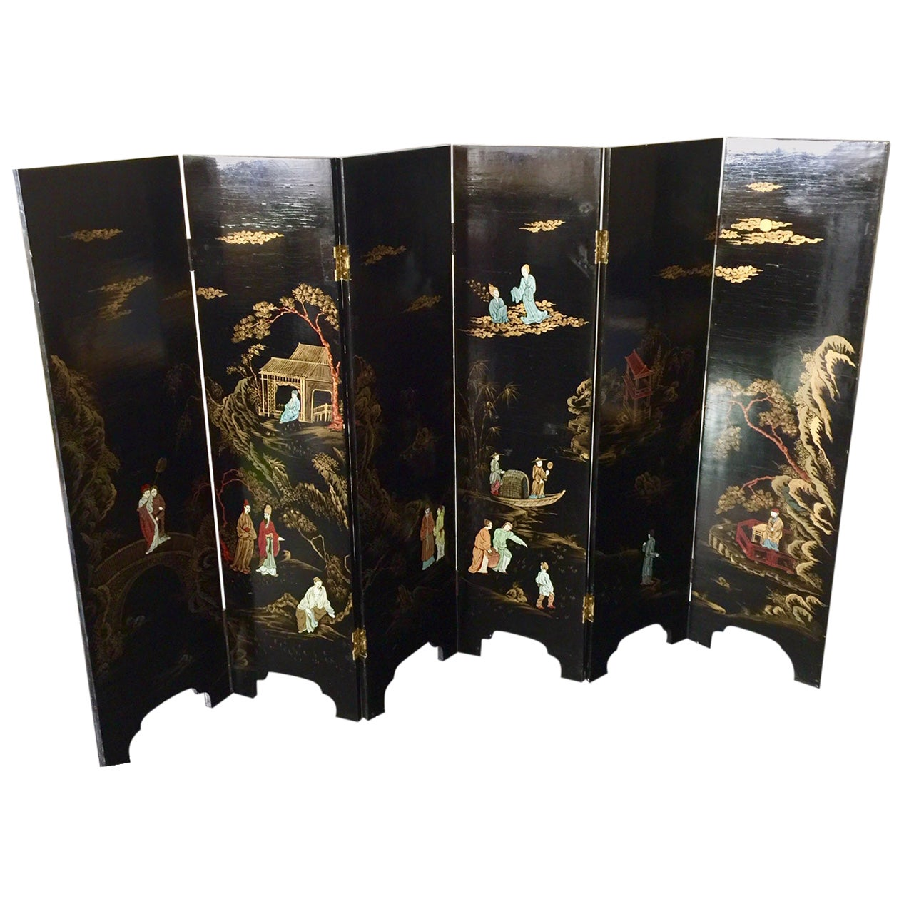 Chinese Six-Panel Lacquer Screen