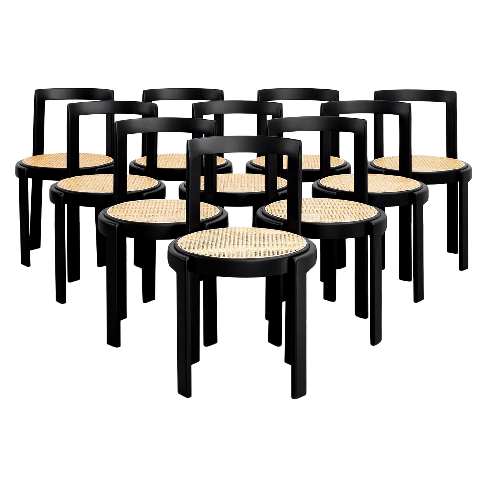 Italian Bentwood Caned Chairs, Set of 10