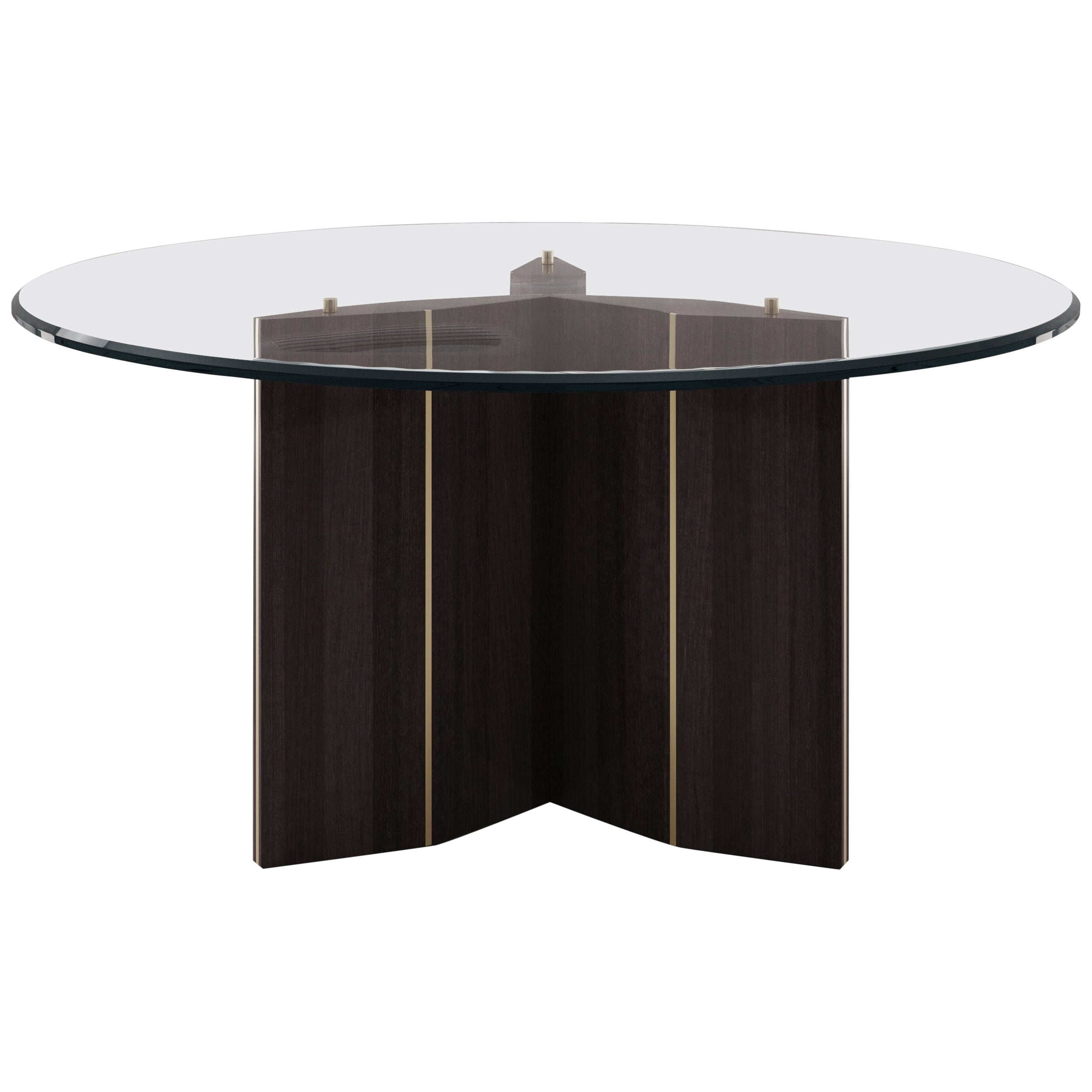 Lorca Dining Table with Tempered Glass Top and Brushed Brass Trims