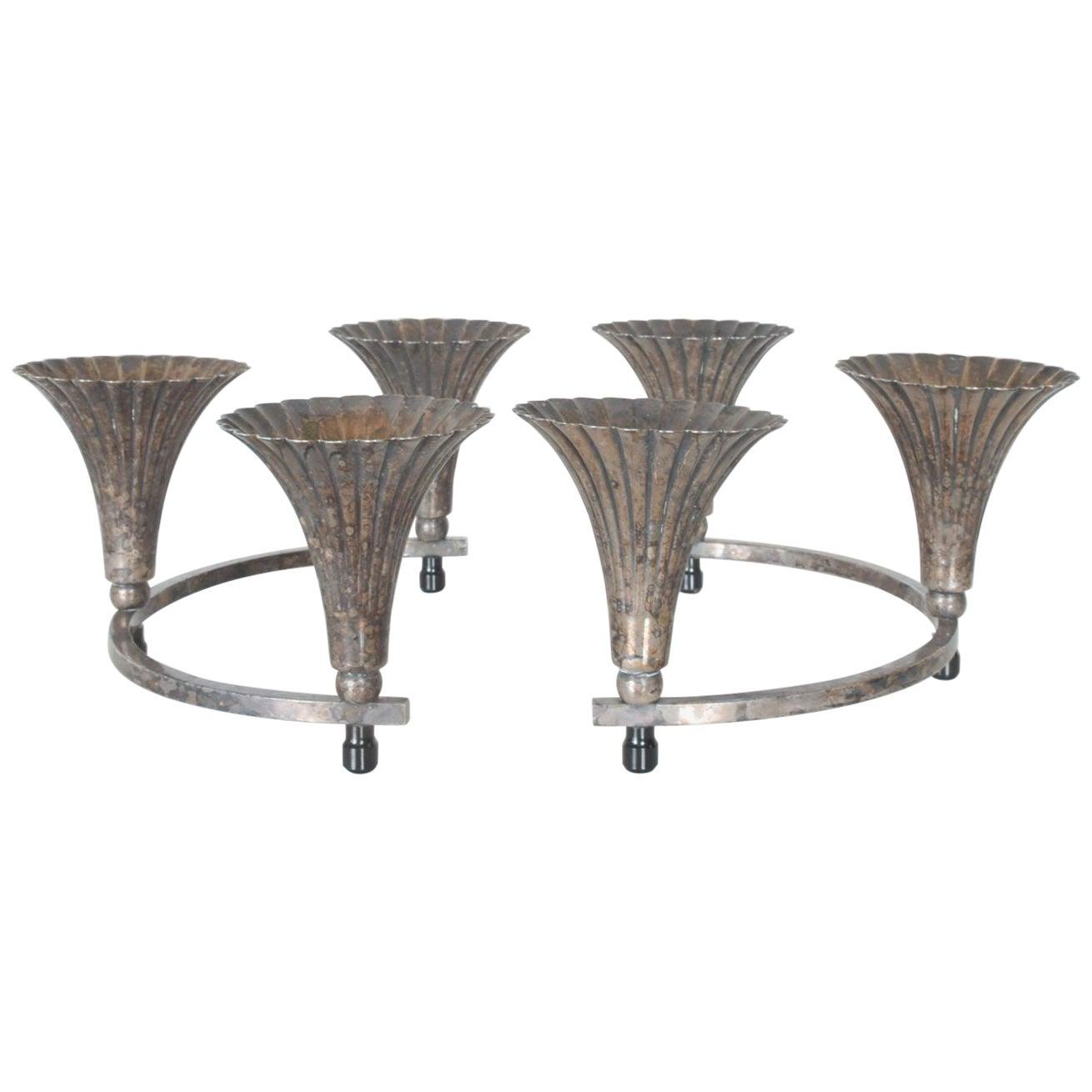 Sheffield Silver Circular Candelabra Centerpiece with 6 Candleholders