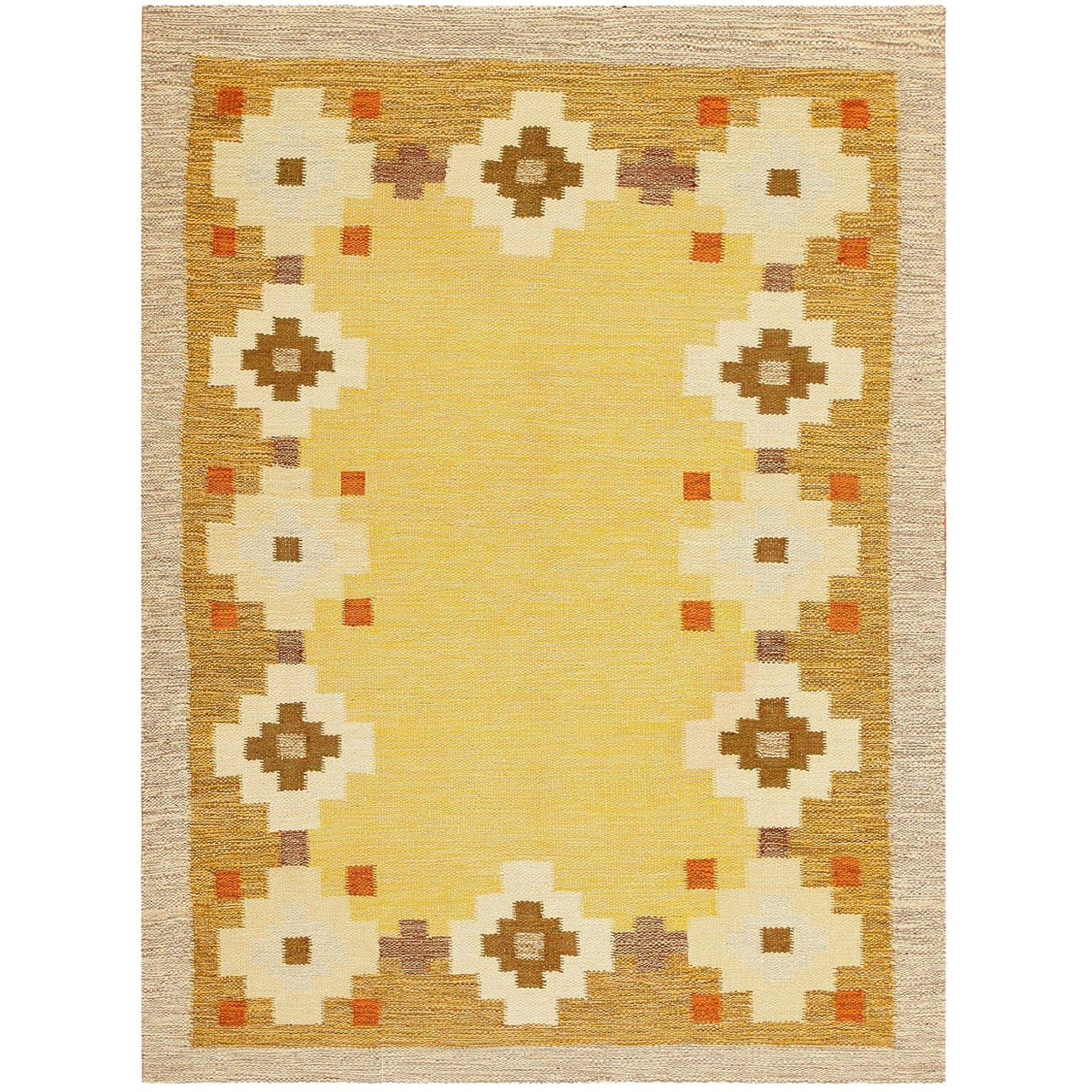 Scandinavian Swedish Kilim Carpet. Size: 5 ft 6 in x 7 ft 4 in (1.68 m x 2.24 m)