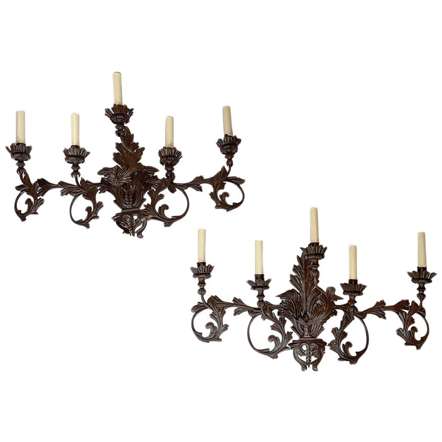 Pair of Large Wrought Iron Sconces