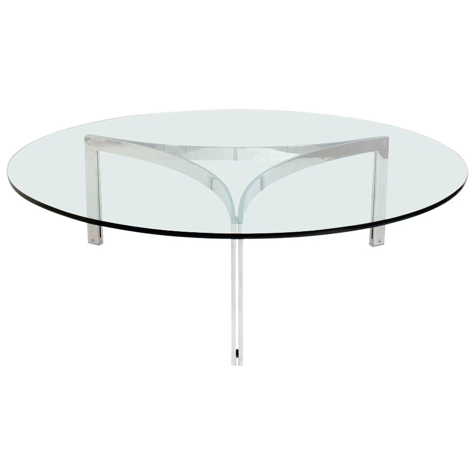 1960s Danish Round Chrome and Glass Coffee Table I T S of PK Scimitar Table