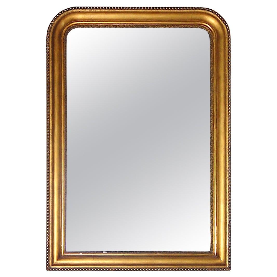 1860 English Georgian Gilded Mirror with Original Glass Mirror