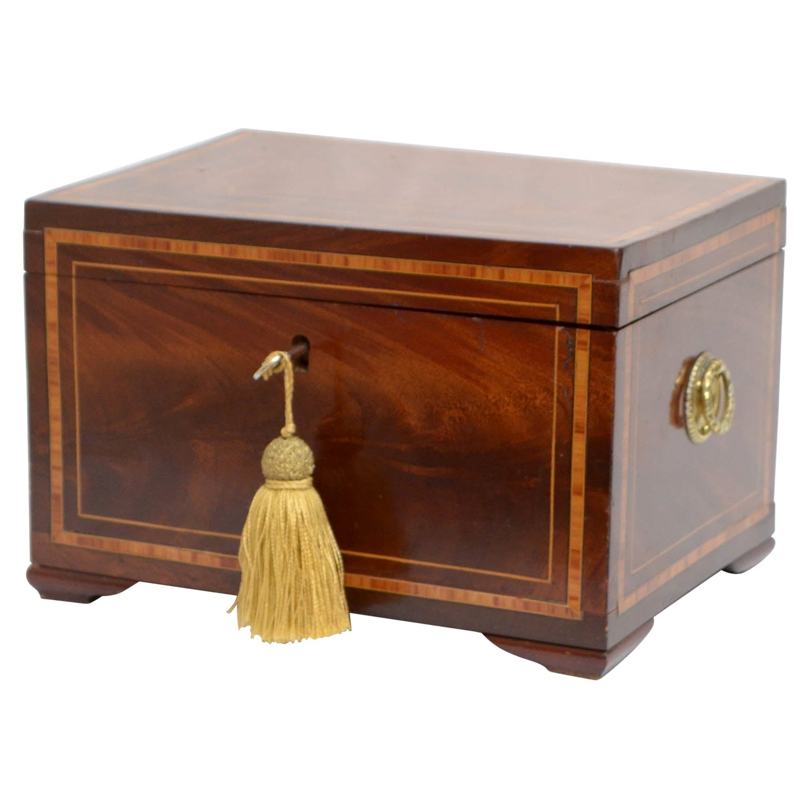 Georgian Mahogany Jewelry Box with Tray