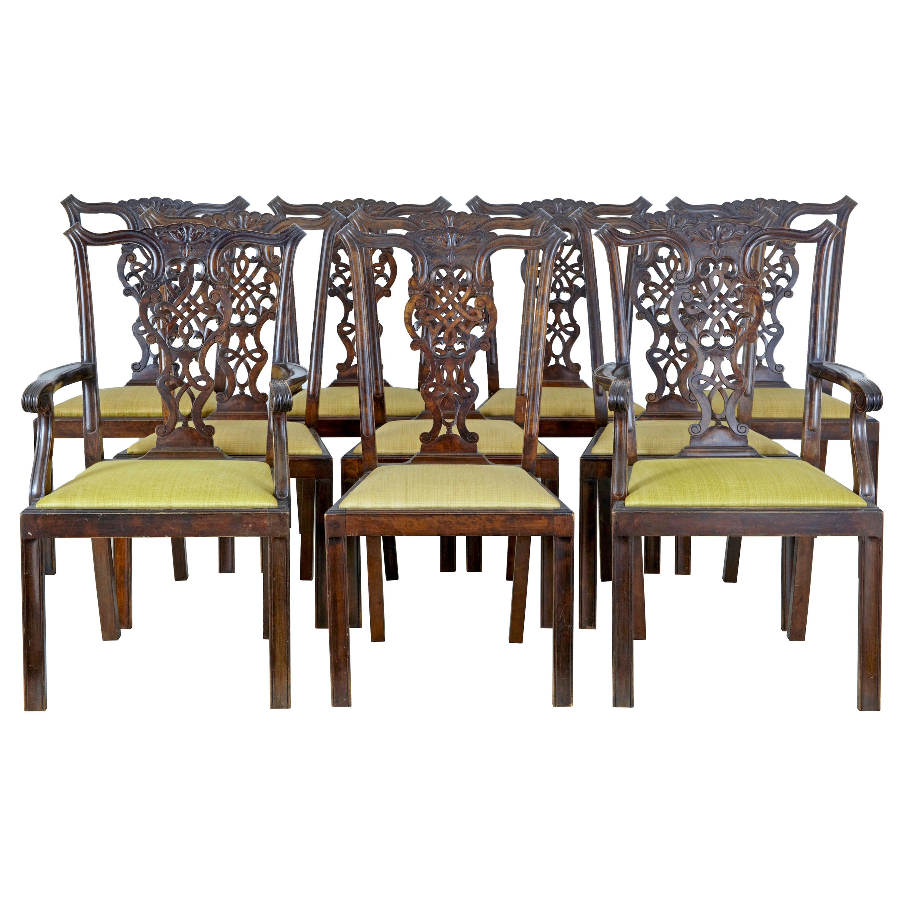 Set of 8+2 19th Century Carved Birch Chippendale Design Dining Chairs
