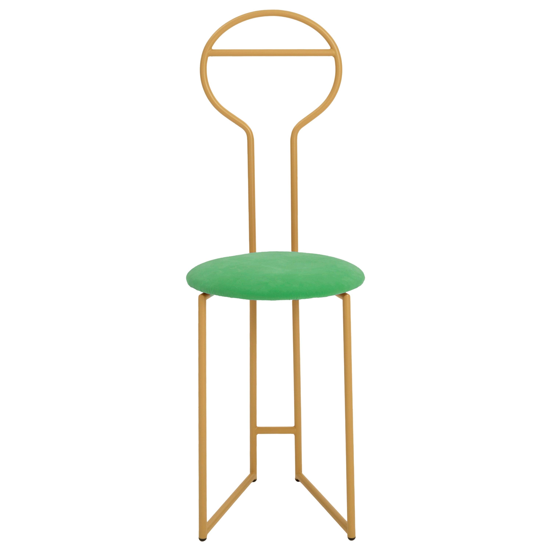 Joly Chairdrobe, High Back, Gold Structure, Mint Green Fine Italian Velvet