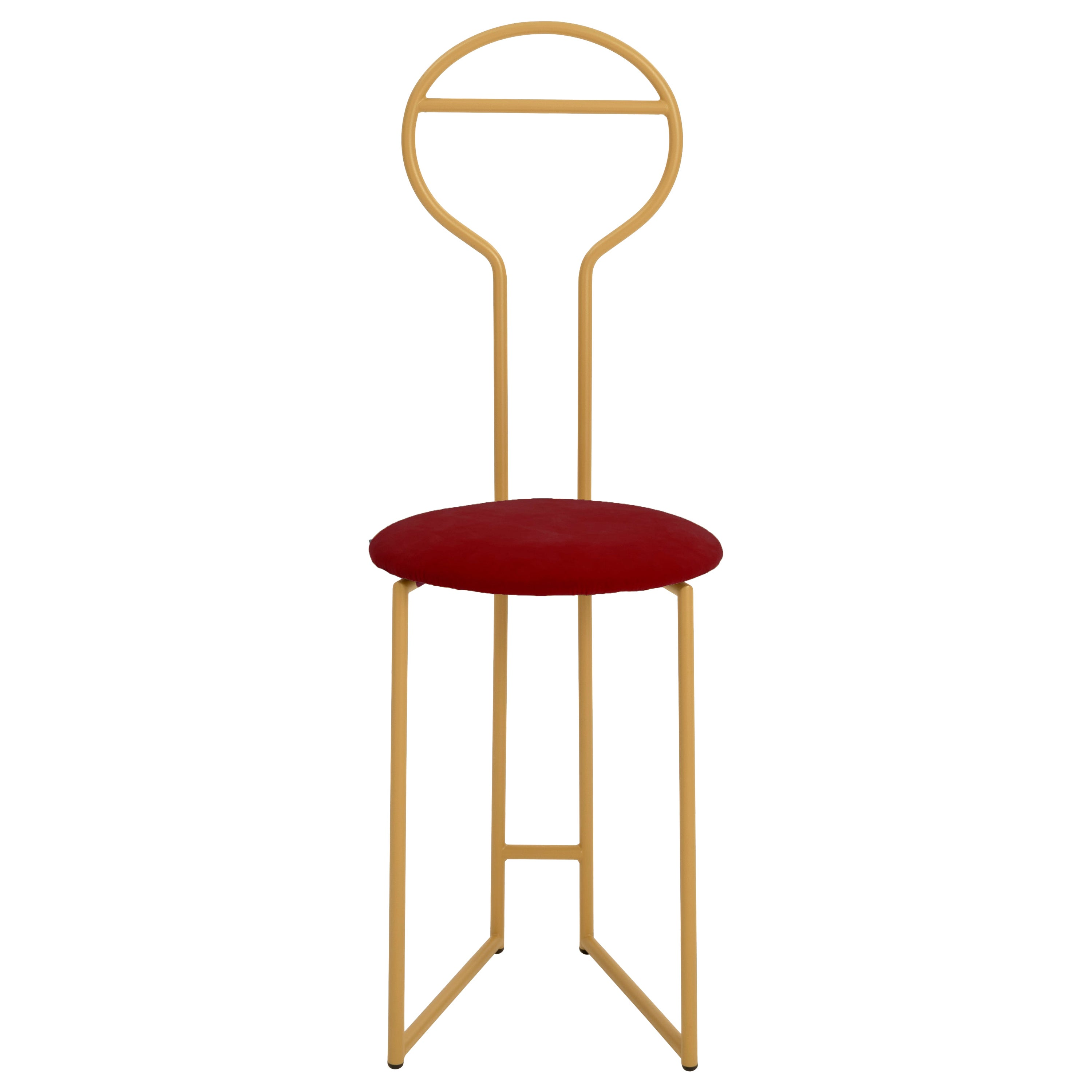 Joly Chairdrobe, High Back, Gold Structure and Red Fine Italian Velvet