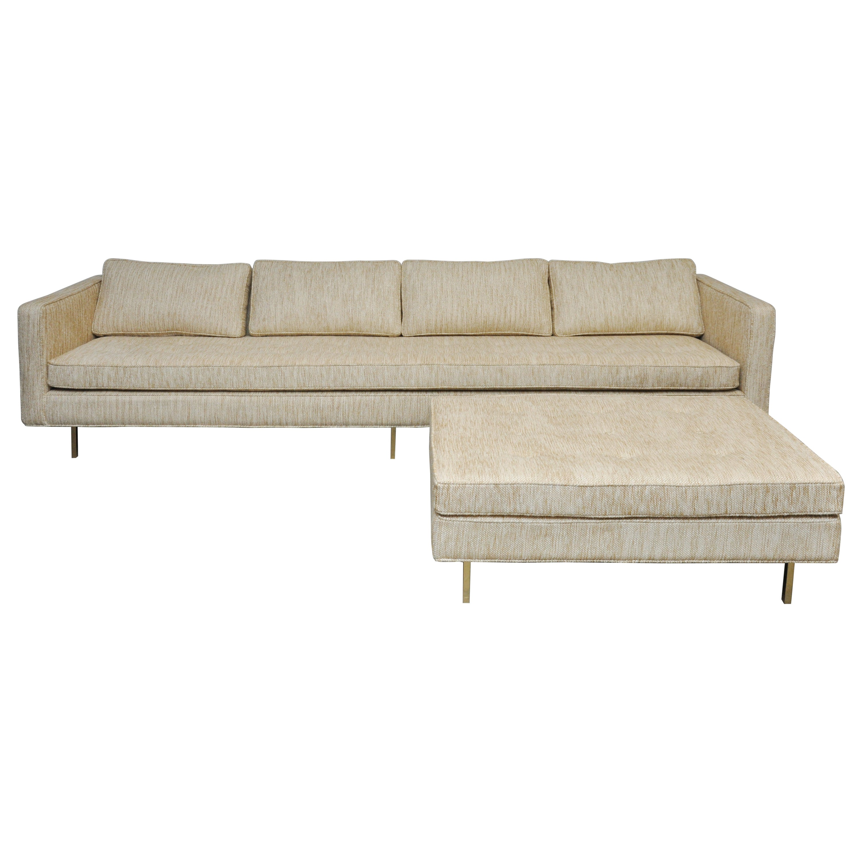 Harvey Probber Brass Base Sofa with Ottoman