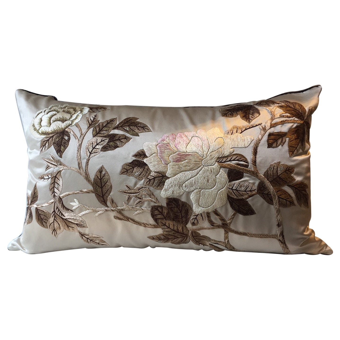 Decorative Silk Cushion with Hand Embroidered Peony Design