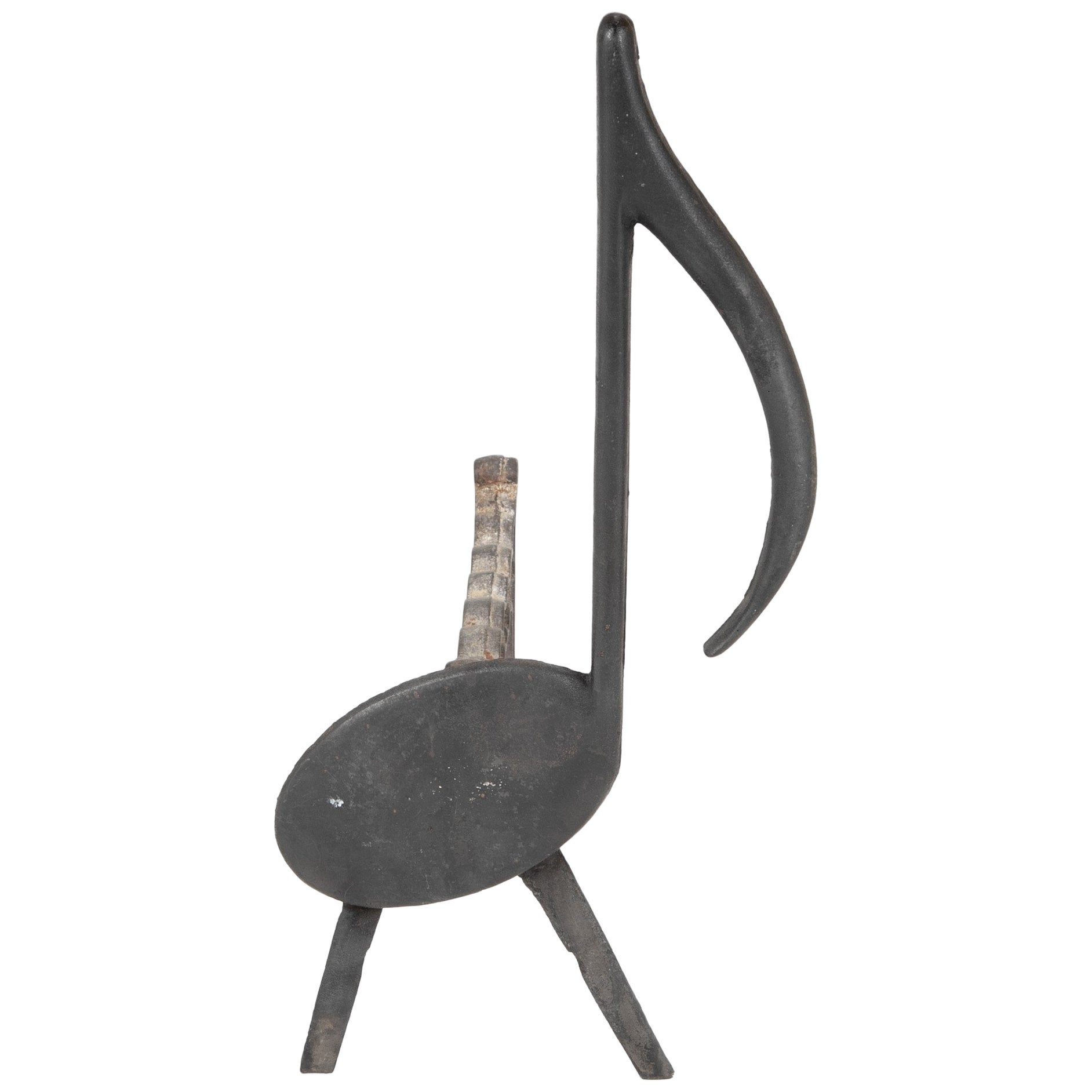 Musical Note Wrought Iron Andirons Stamped Nashville TN, 1920s
