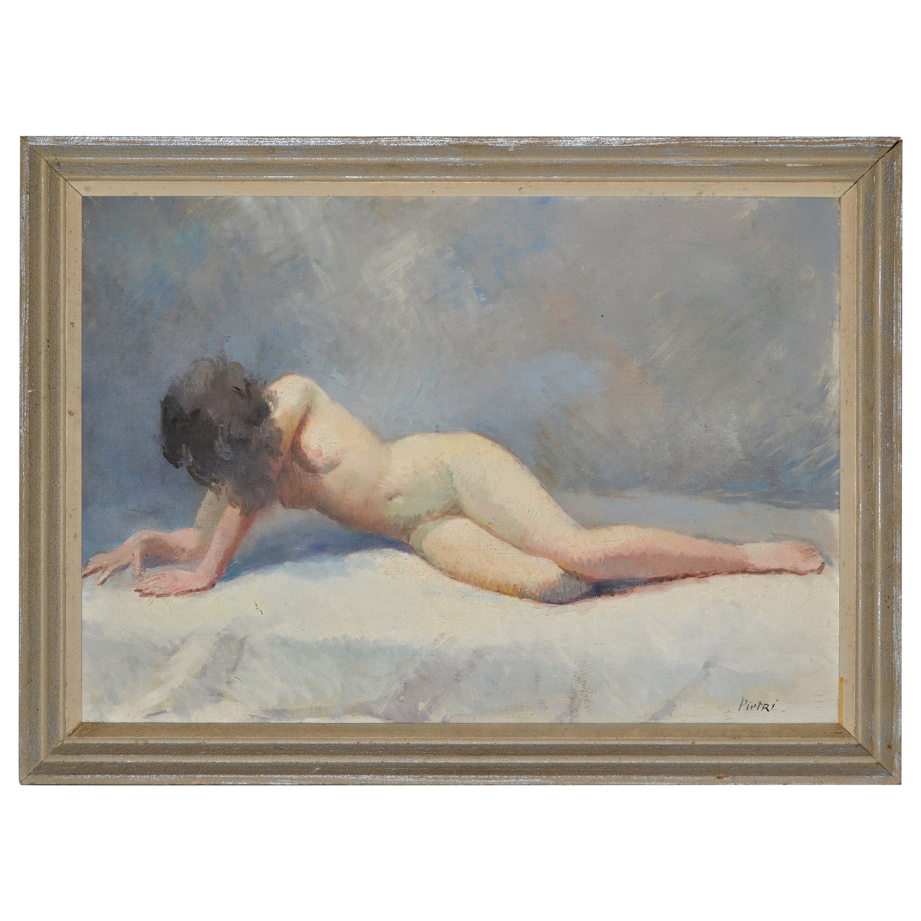 Signed Pietri French Mid-Century Modern Framed Oil Painting Resting Nude Woman