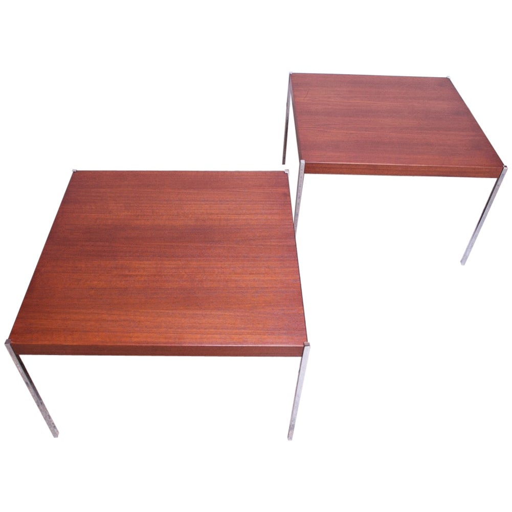 Pair of Danish Modern Teak and Chrome Square Side Tables