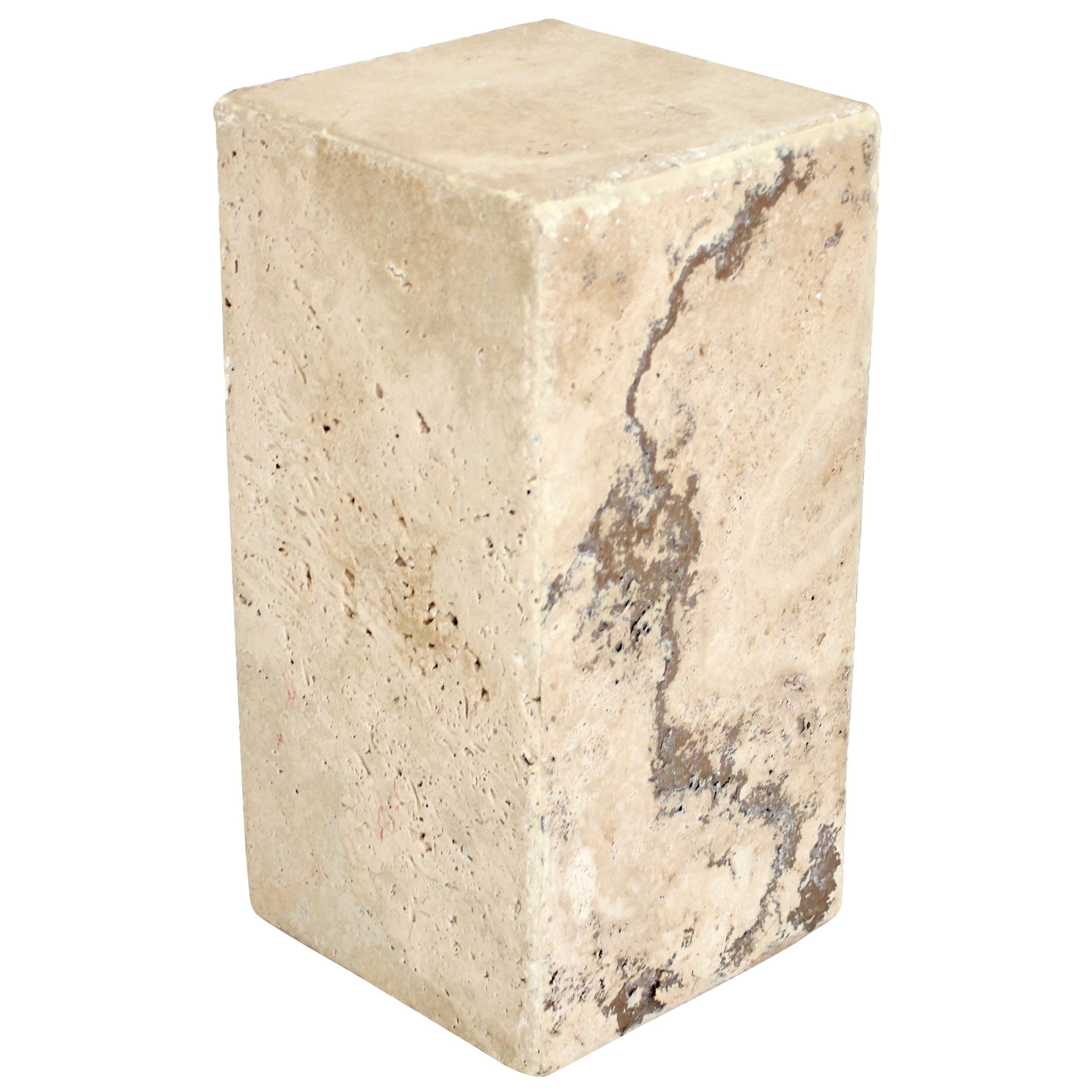 Travertine Marble Rectangular Tall Side Table Sculpture Stand or Drinks Table