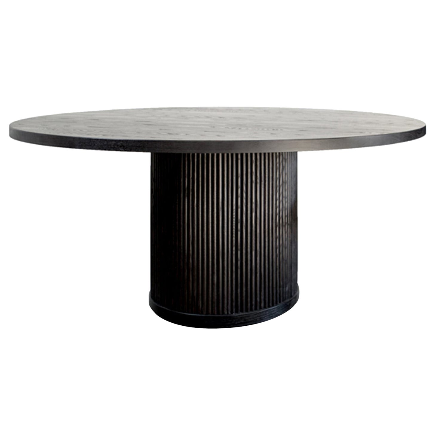 Custom Radius Meeting Table Made with a Solid Wood Top and Tambour Wrapped Base