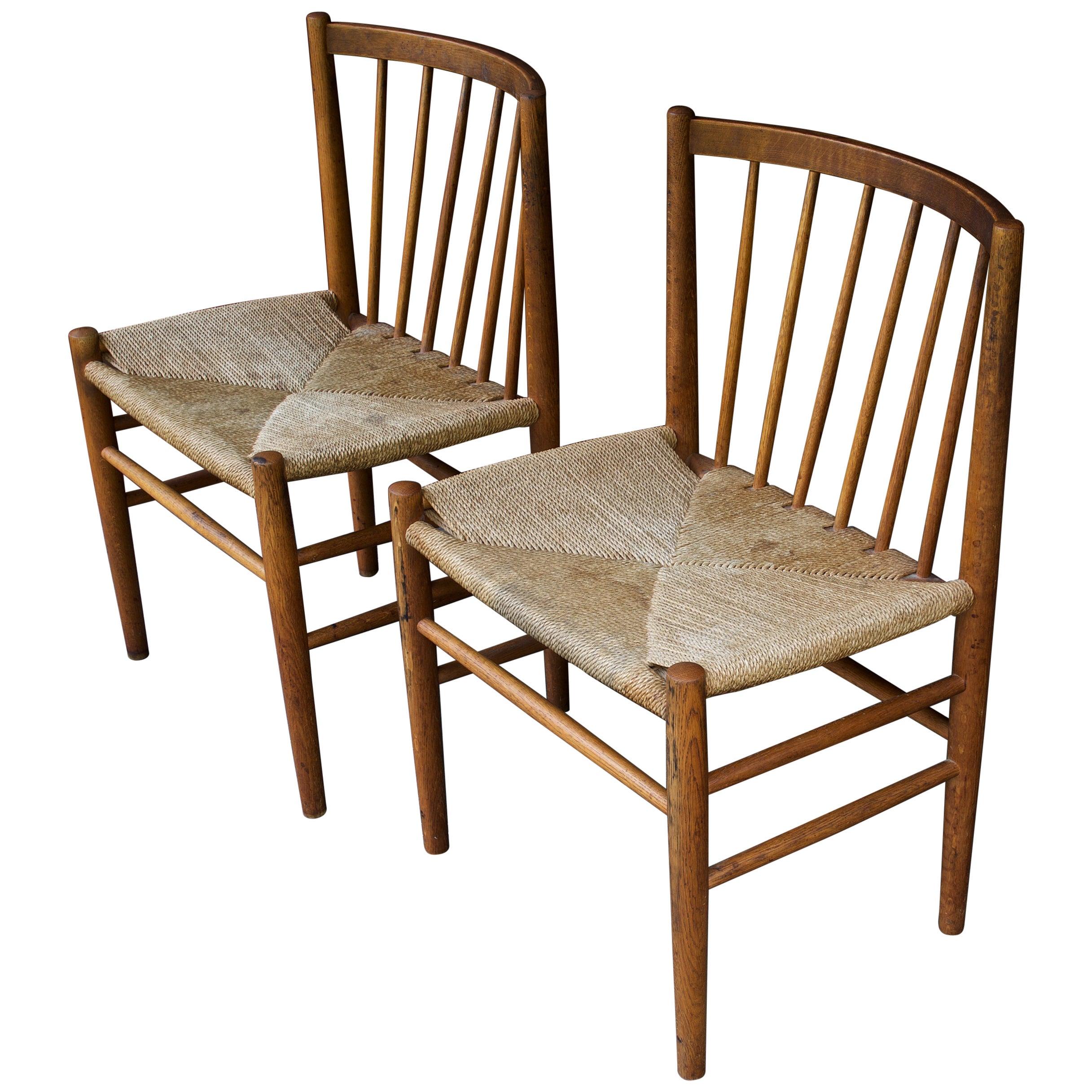 1950s Oak Rope Scandinavian Danish Dining Chair Cabin Architect Rustic Farmhouse