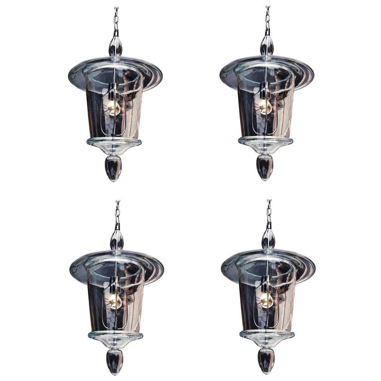 Four Clear Murano Glass Lanterns or Pendants For Sale
