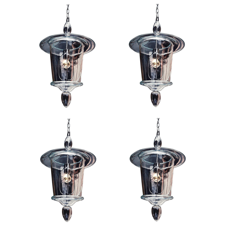 Four Clear Hand Blown Venetian or Murano Glass Lanterns or Pendants, Venini