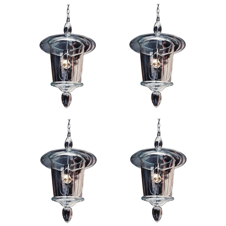 Four Clear Hand Blown Venetian or Murano Glass Lanterns or Pendants, Venini For Sale