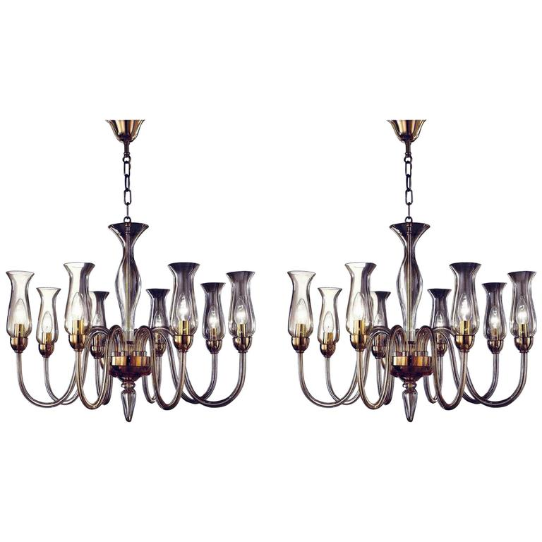 Two Amber Murano Glass Chandeliers With Shades For
