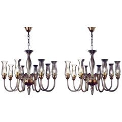 Two Amber Murano Glass Chandeliers with Glass Shades