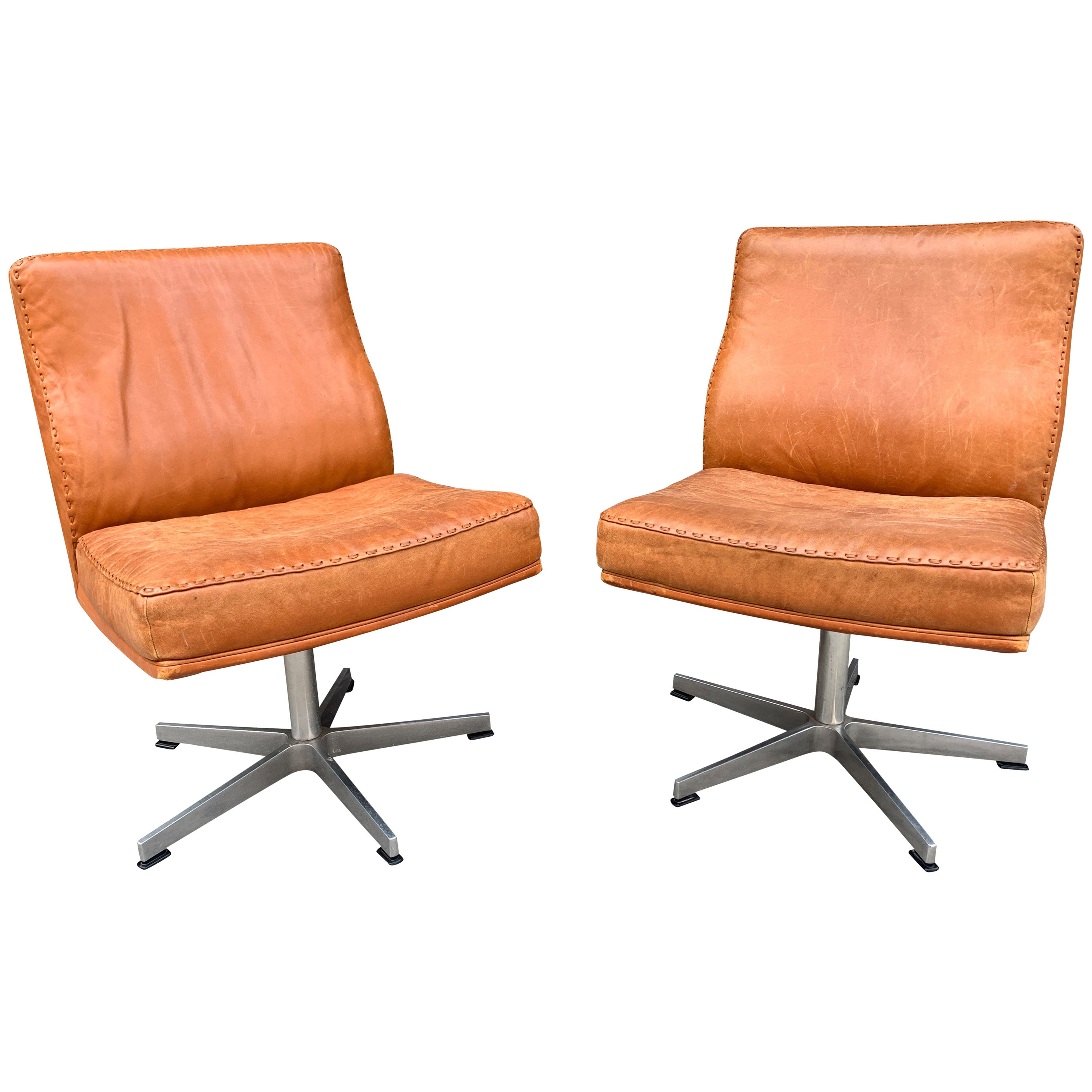 Pair of Vintage Leather Office Chairs
