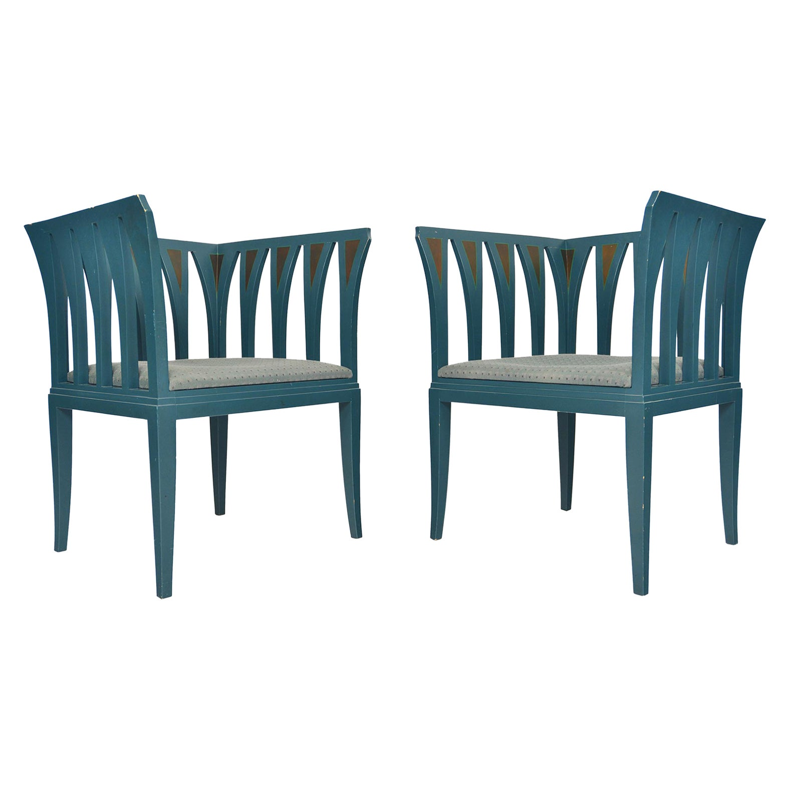 Pair of Eliel Saarinen Model 275 Blue Chairs by Adelta of Finland