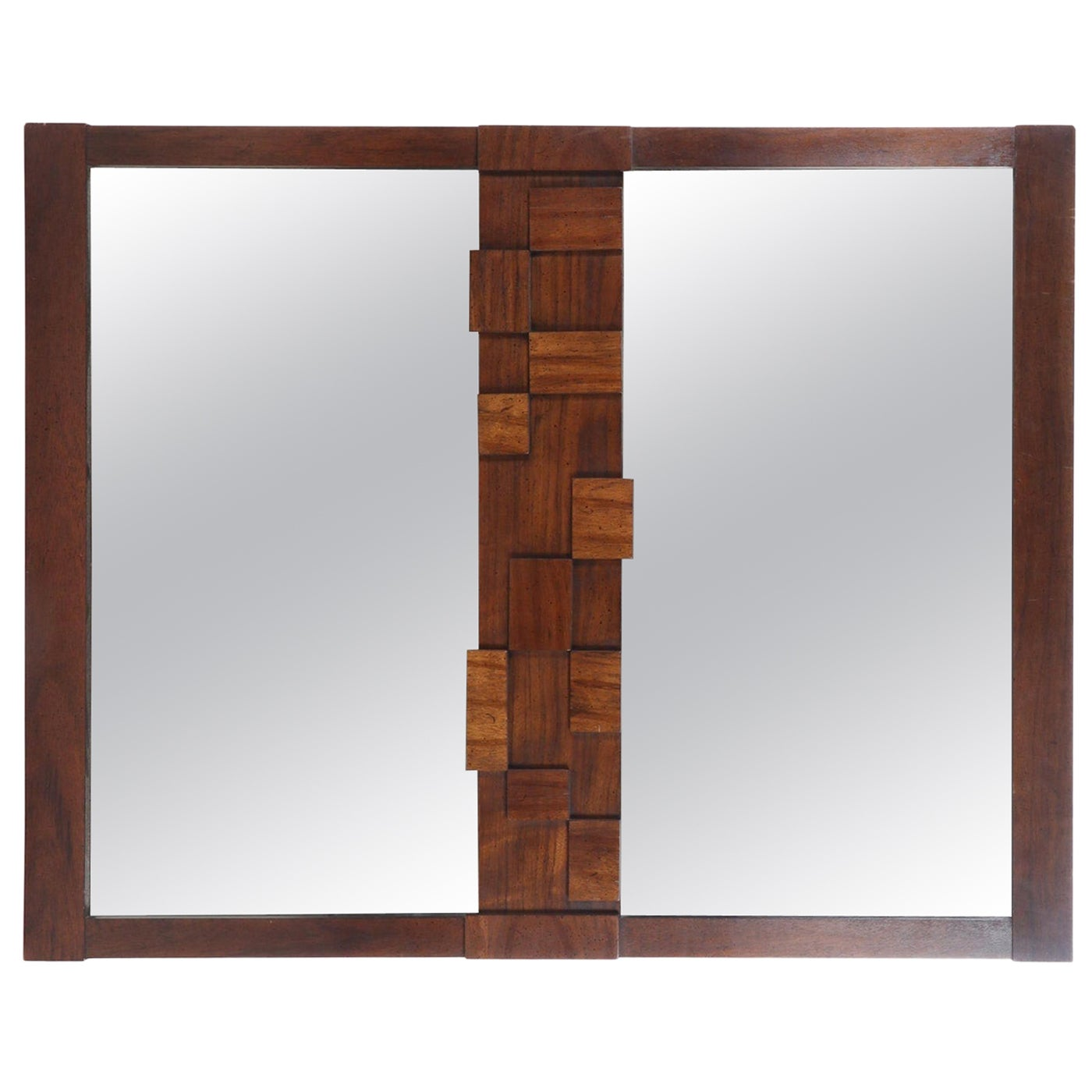 Large Mid-Century Modernist Brutalist Double Mirror by Lane Furniture