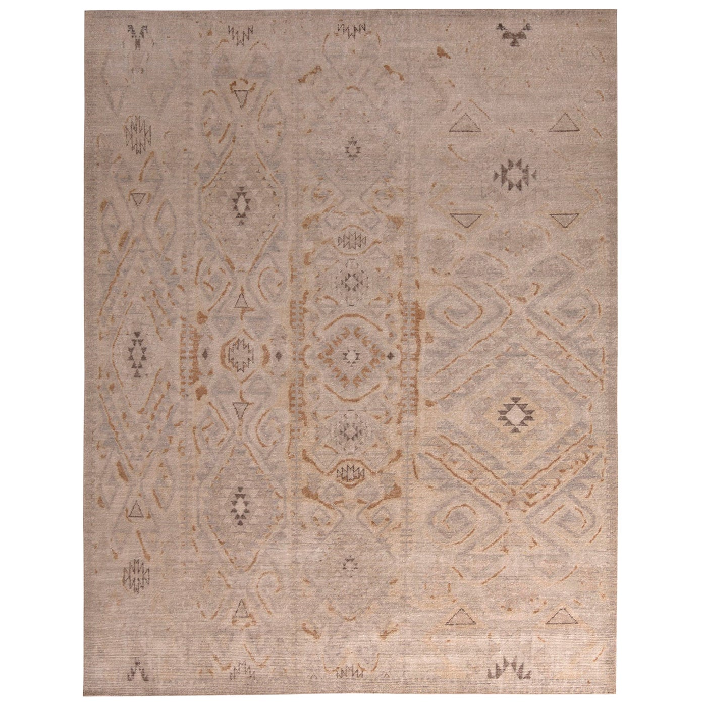 Rug & Kilim's Homage Geometric Beige Brown and Gray-Blue Wool Custom Rug